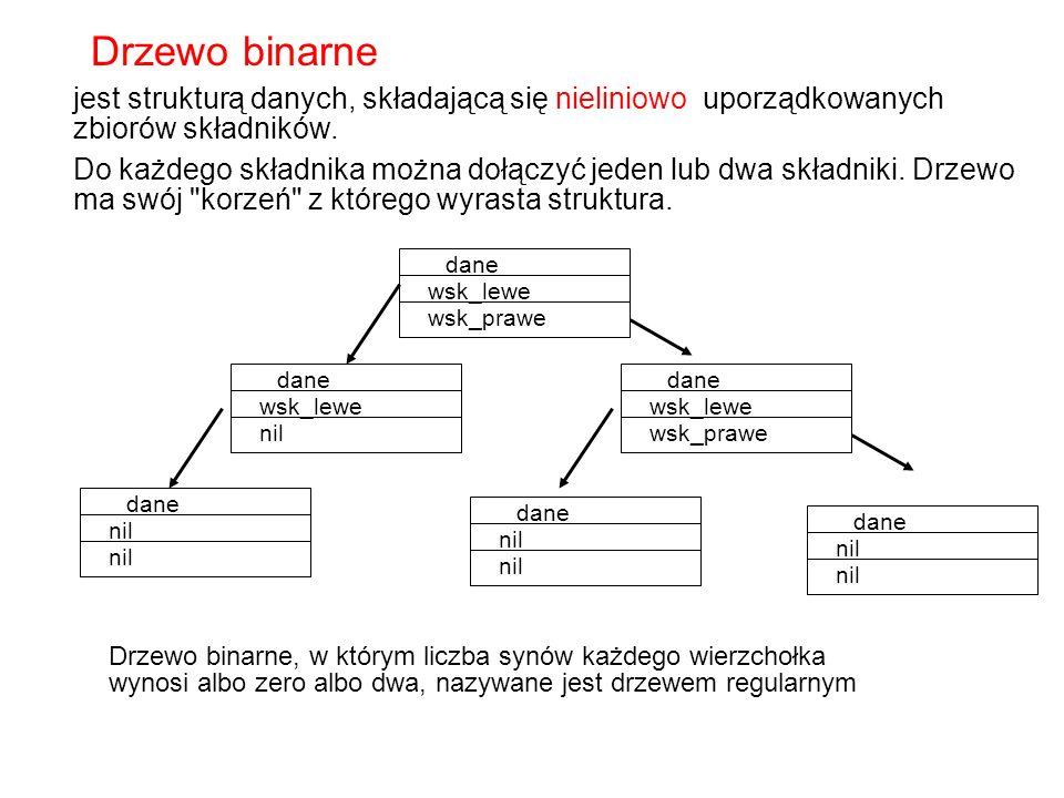 Drzewo binarne jest strukturą danych, składającą się nieliniowo uporządkowanych zbiorów składników.