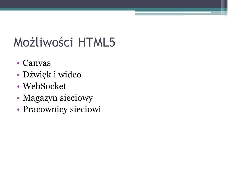 Możliwości HTML5 Canvas Dźwięk i wideo WebSocket Magazyn sieciowy