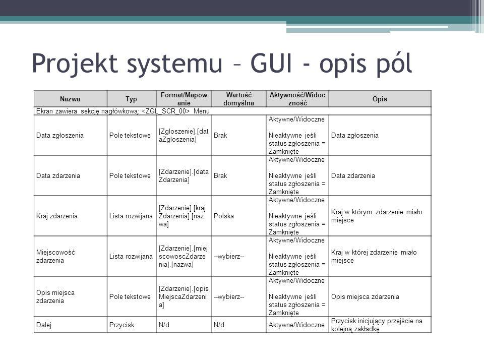 Projekt systemu – GUI - opis pól