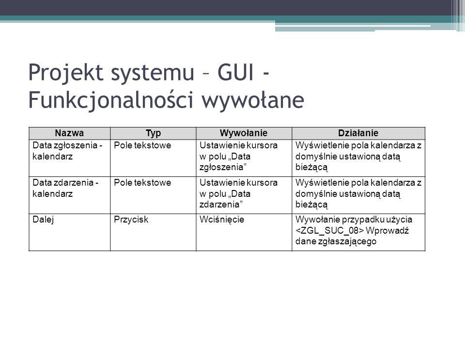 Projekt systemu – GUI - Funkcjonalności wywołane