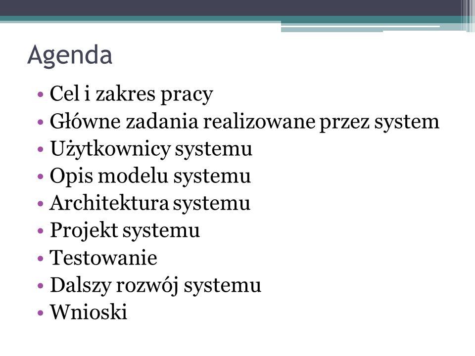 Agenda Cel i zakres pracy Główne zadania realizowane przez system