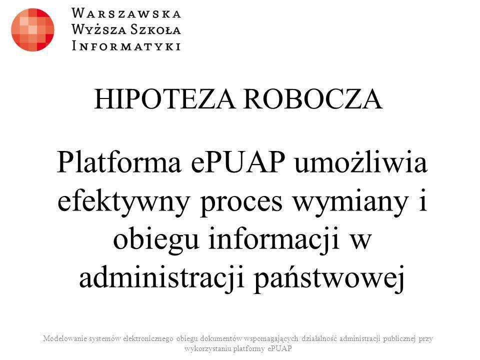 HIPOTEZA ROBOCZA Platforma ePUAP umożliwia efektywny proces wymiany i obiegu informacji w administracji państwowej.