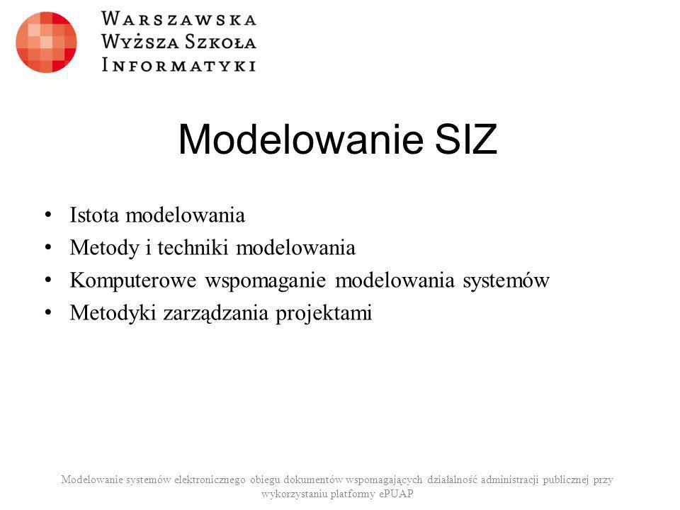 Modelowanie SIZ Istota modelowania Metody i techniki modelowania