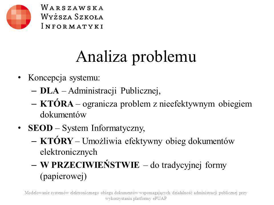 Analiza problemu Koncepcja systemu: DLA – Administracji Publicznej,