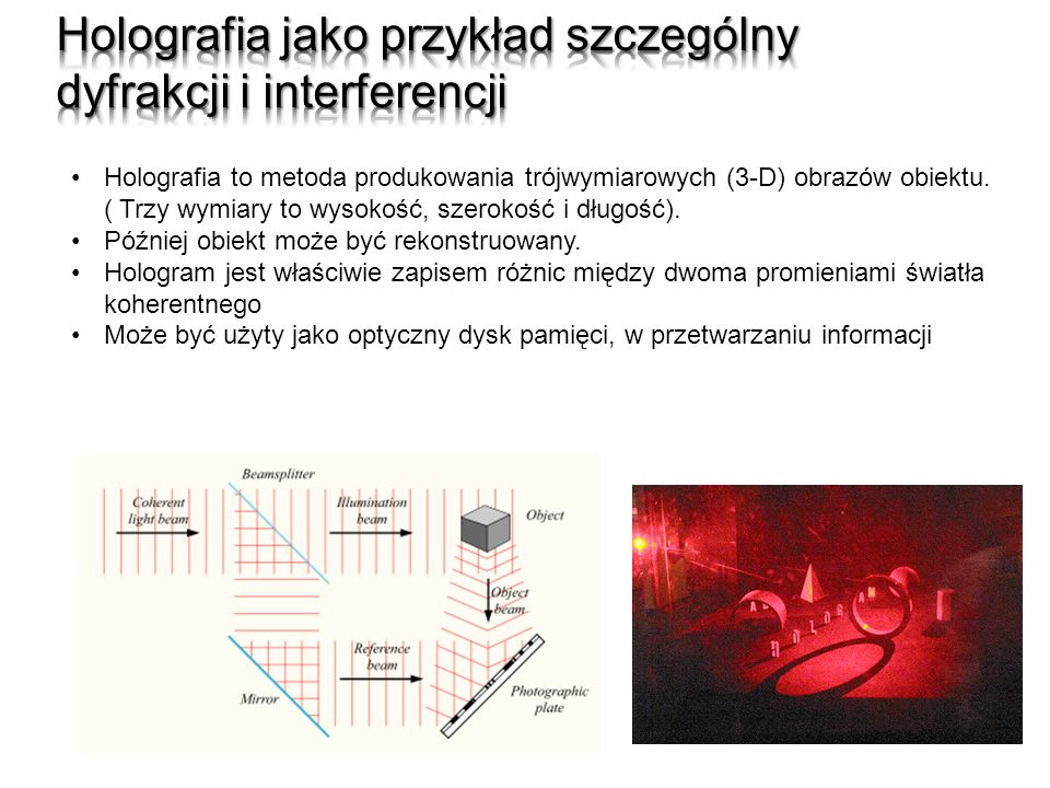 Holografia jako przykład szczególny dyfrakcji i interferencji