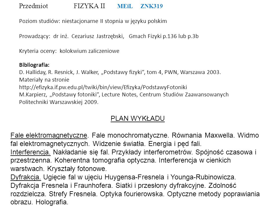 Przedmiot FIZYKA II MEiL ZNK319