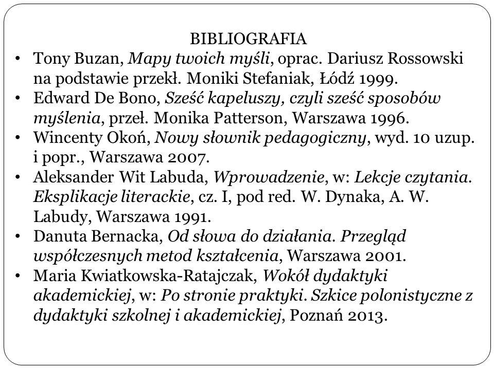 BIBLIOGRAFIA Tony Buzan, Mapy twoich myśli, oprac. Dariusz Rossowski na podstawie przekł. Moniki Stefaniak, Łódź 1999.