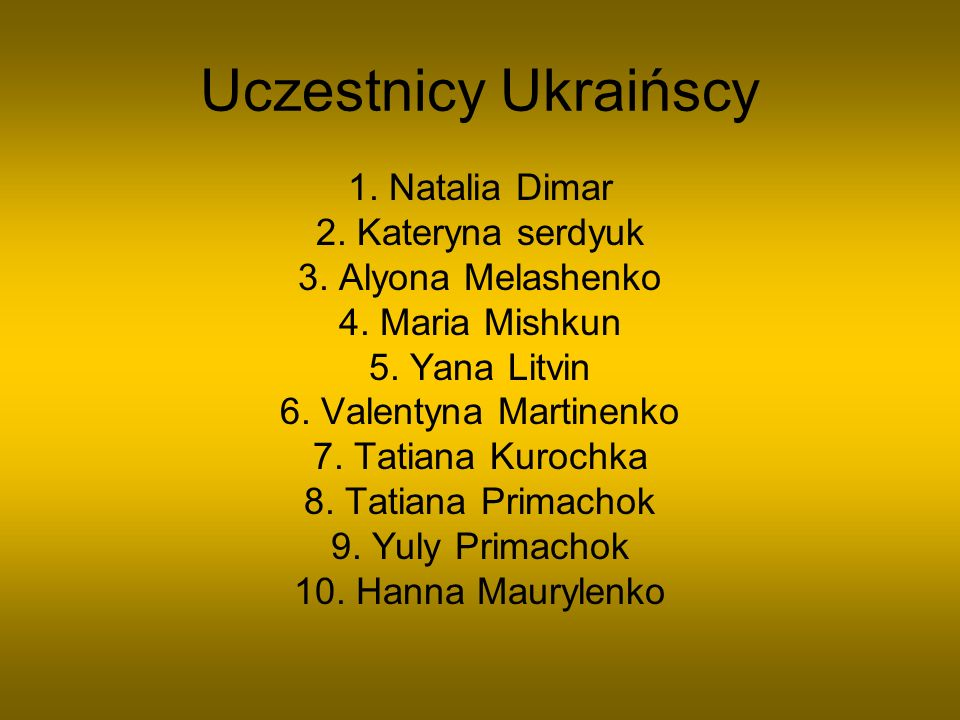 Uczestnicy Ukraińscy 1. Natalia Dimar 2. Kateryna serdyuk