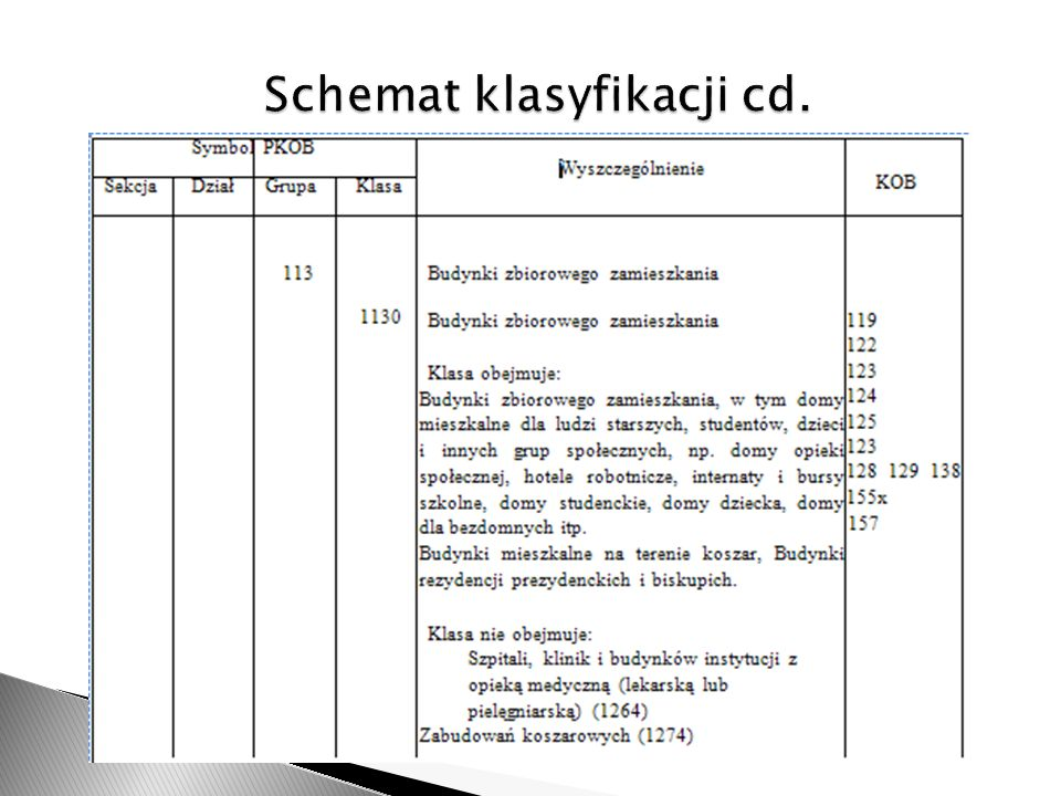 Schemat klasyfikacji cd.
