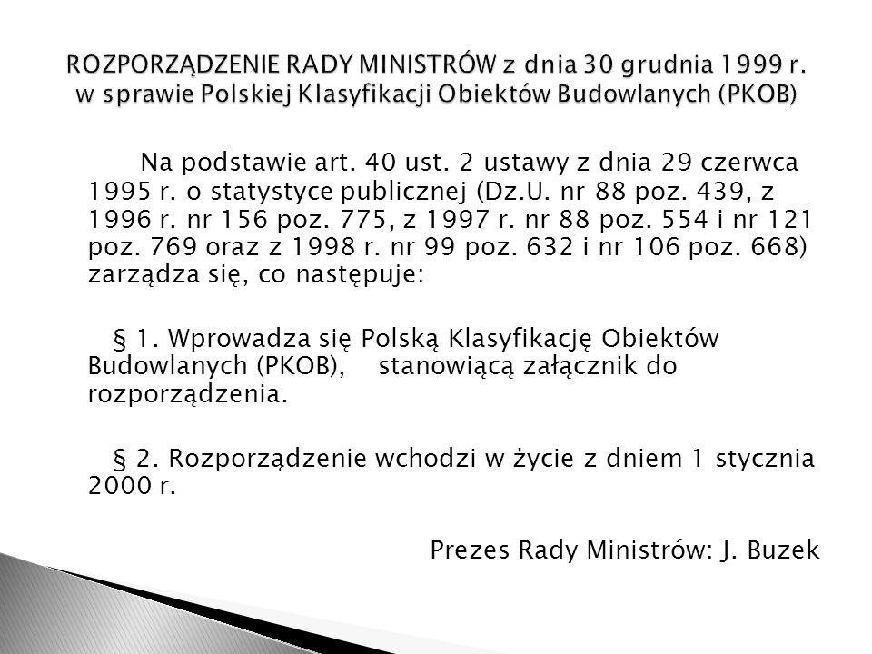 ROZPORZĄDZENIE RADY MINISTRÓW z dnia 30 grudnia 1999 r