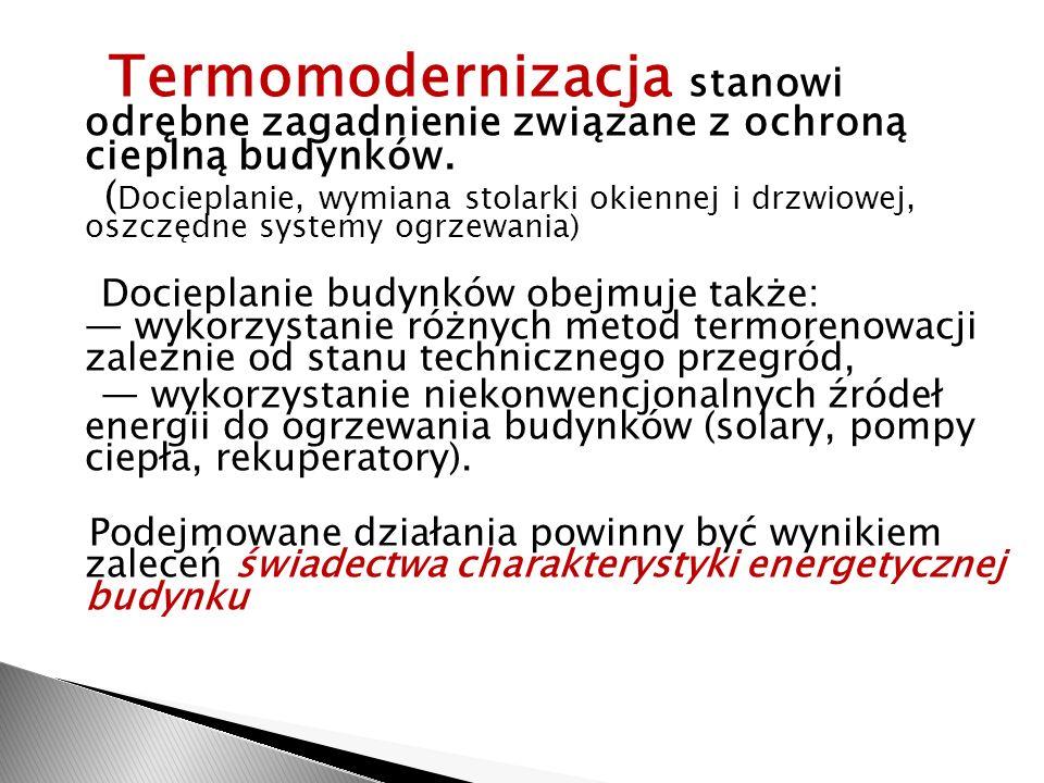 Termomodernizacja stanowi odrębne zagadnienie związane z ochroną cieplną budynków.