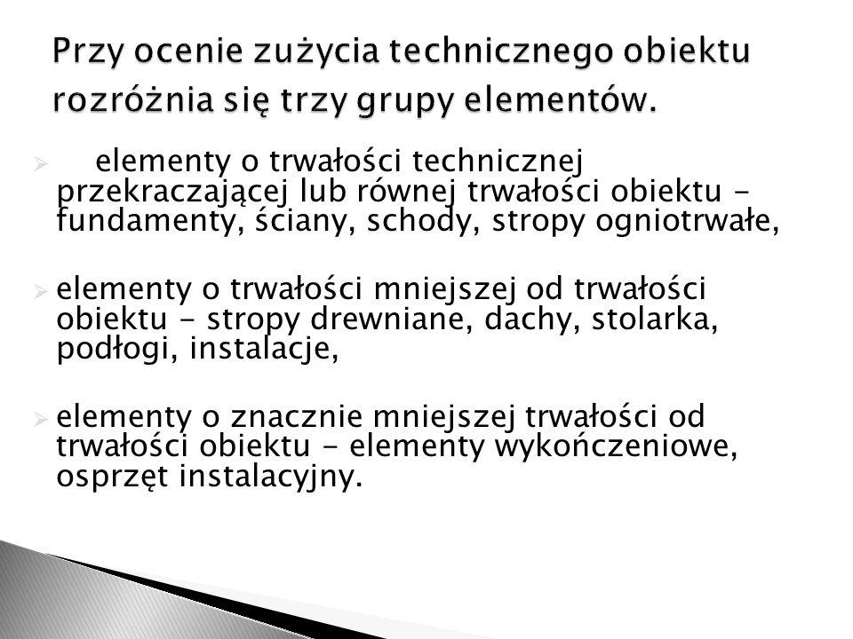 Przy ocenie zużycia technicznego obiektu rozróżnia się trzy grupy elementów.
