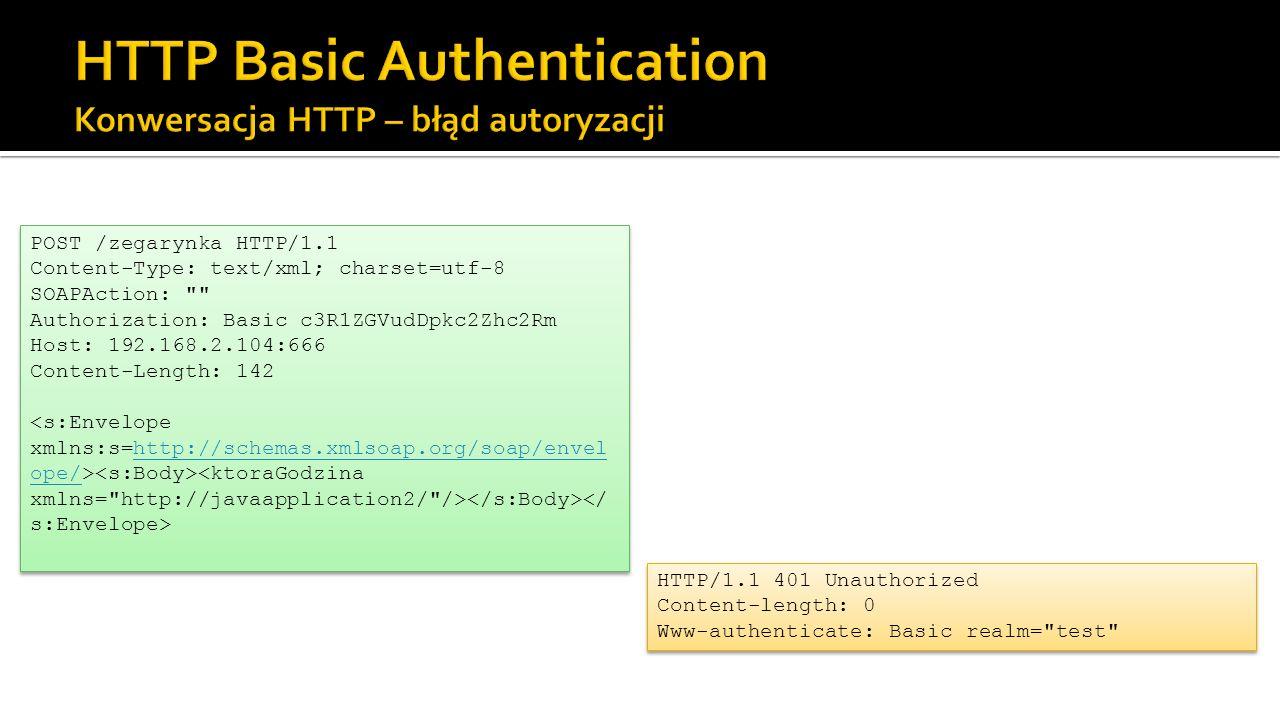 HTTP Basic Authentication Konwersacja HTTP – błąd autoryzacji