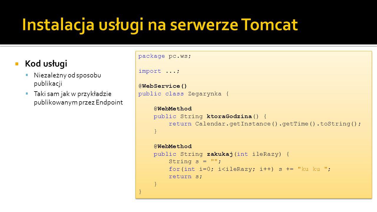 Instalacja usługi na serwerze Tomcat