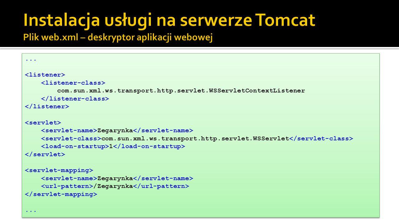 Instalacja usługi na serwerze Tomcat Plik web