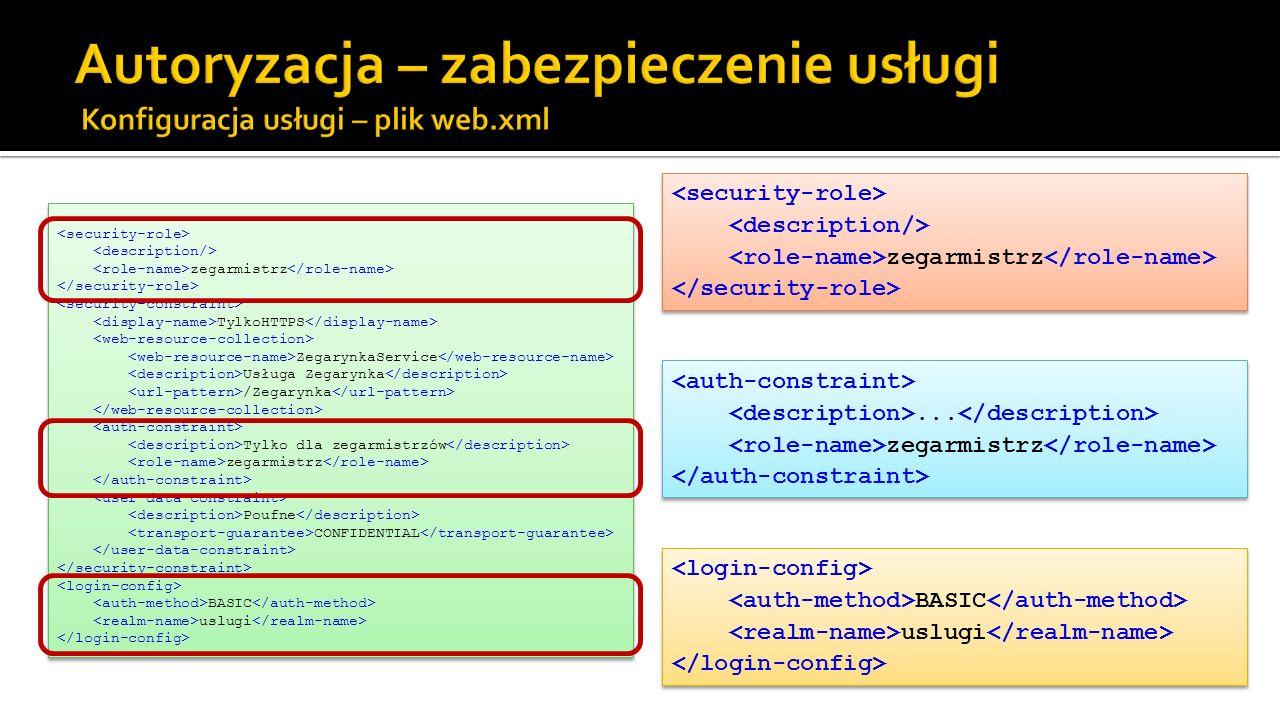 Autoryzacja – zabezpieczenie usługi Konfiguracja usługi – plik web.xml