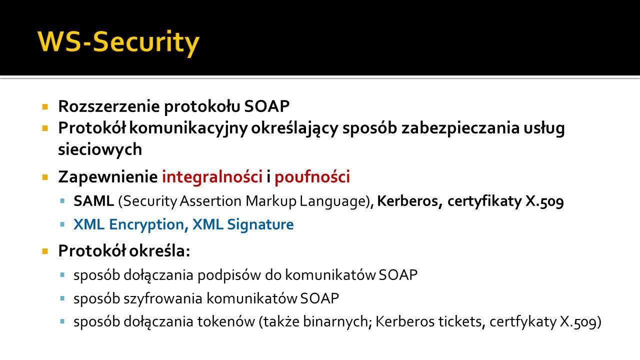 WS-Security Rozszerzenie protokołu SOAP