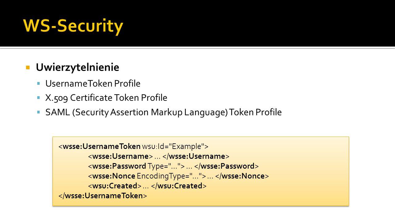 WS-Security Uwierzytelnienie UsernameToken Profile