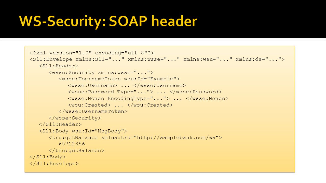 WS-Security: SOAP header