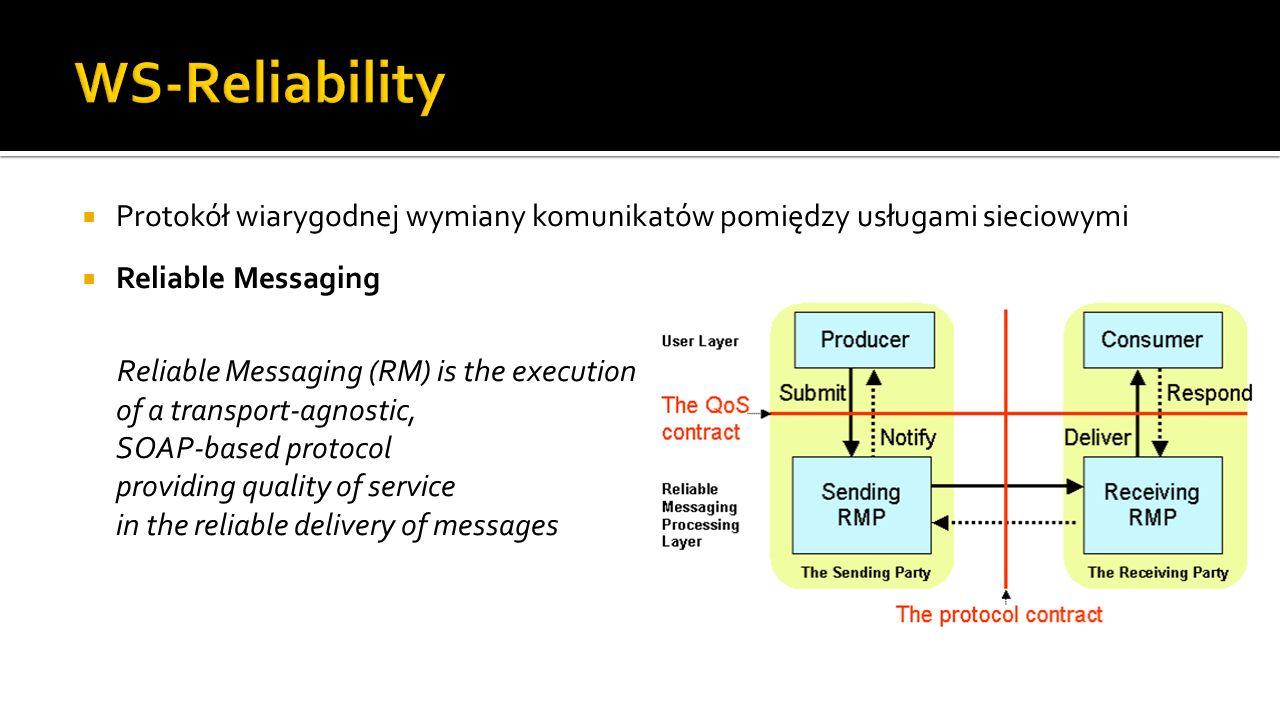 WS-Reliability Protokół wiarygodnej wymiany komunikatów pomiędzy usługami sieciowymi. Reliable Messaging.