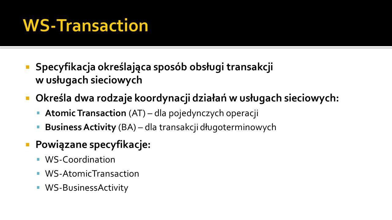 WS-Transaction Specyfikacja określająca sposób obsługi transakcji w usługach sieciowych.