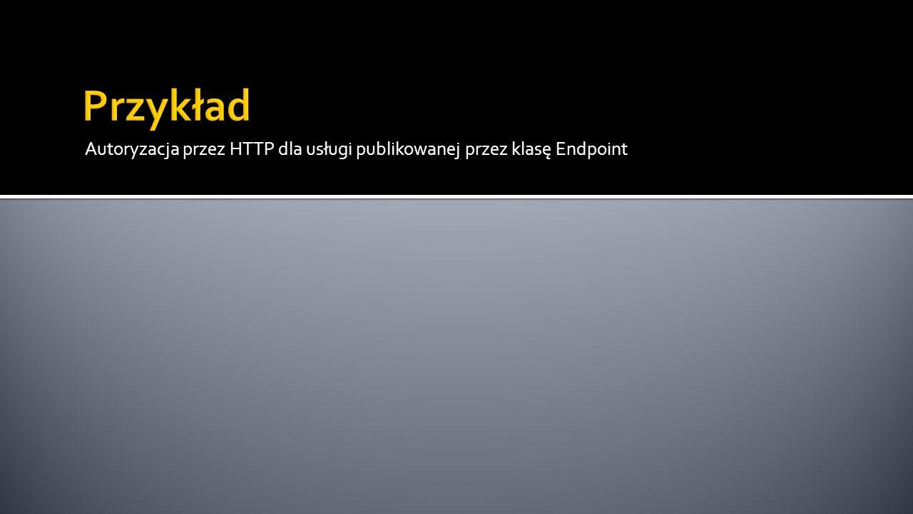 Przykład Autoryzacja przez HTTP dla usługi publikowanej przez klasę Endpoint