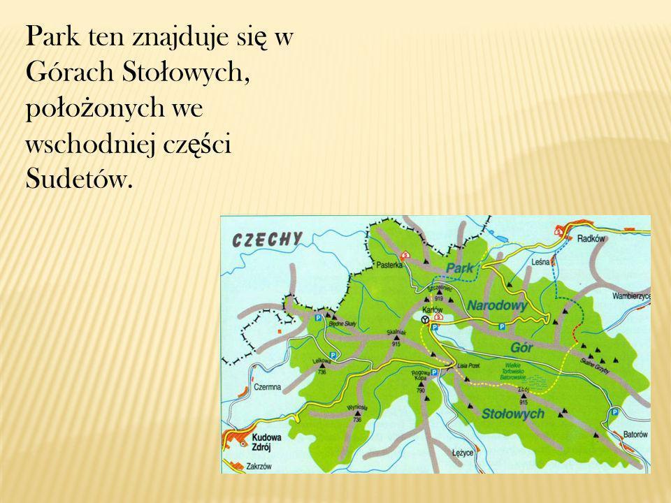Park ten znajduje się w Górach Stołowych, położonych we wschodniej części Sudetów.