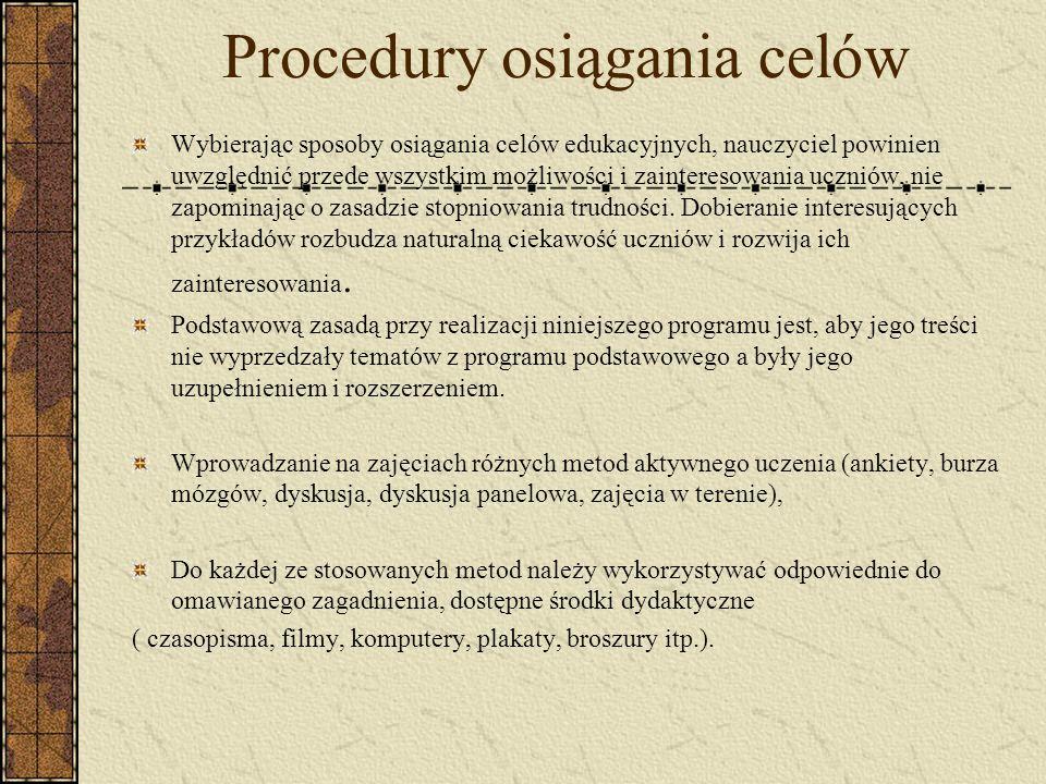 Procedury osiągania celów
