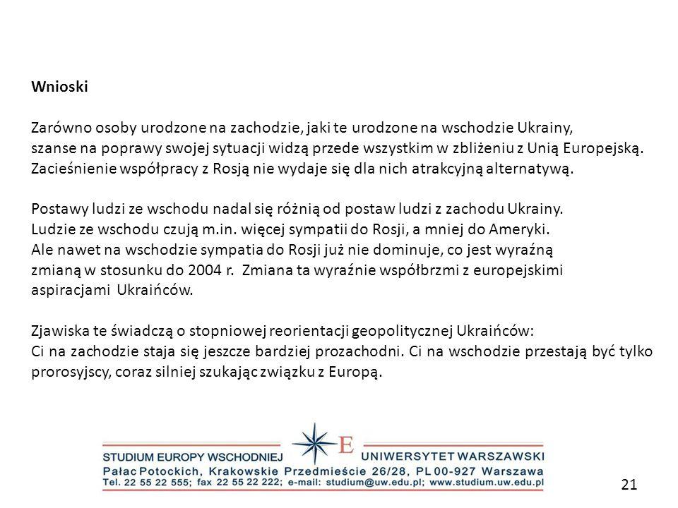 Wnioski Zarówno osoby urodzone na zachodzie, jaki te urodzone na wschodzie Ukrainy,