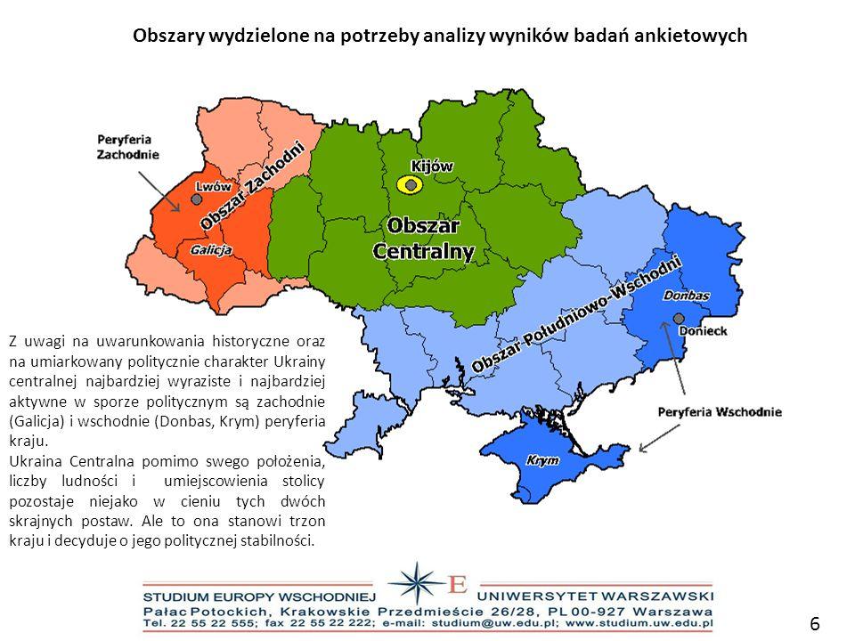 Obszary wydzielone na potrzeby analizy wyników badań ankietowych