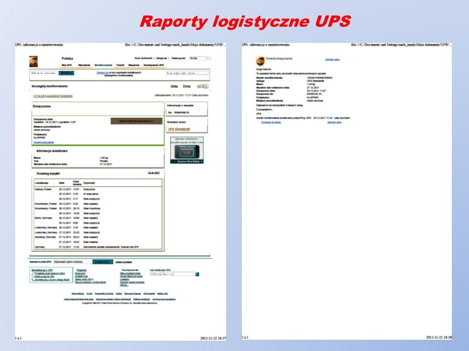 Raporty logistyczne UPS