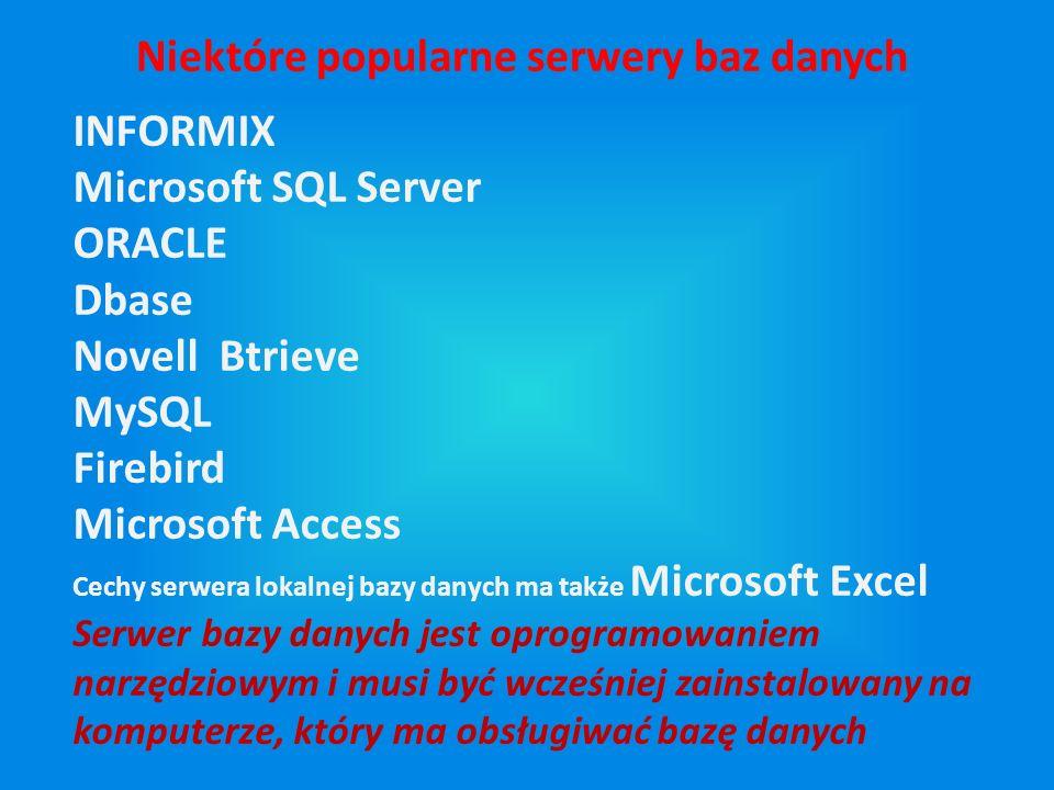 Niektóre popularne serwery baz danych