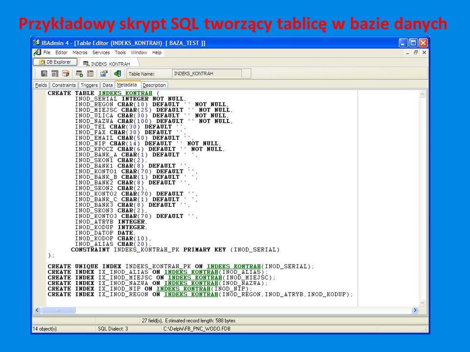 Przykładowy skrypt SQL tworzący tablicę w bazie danych