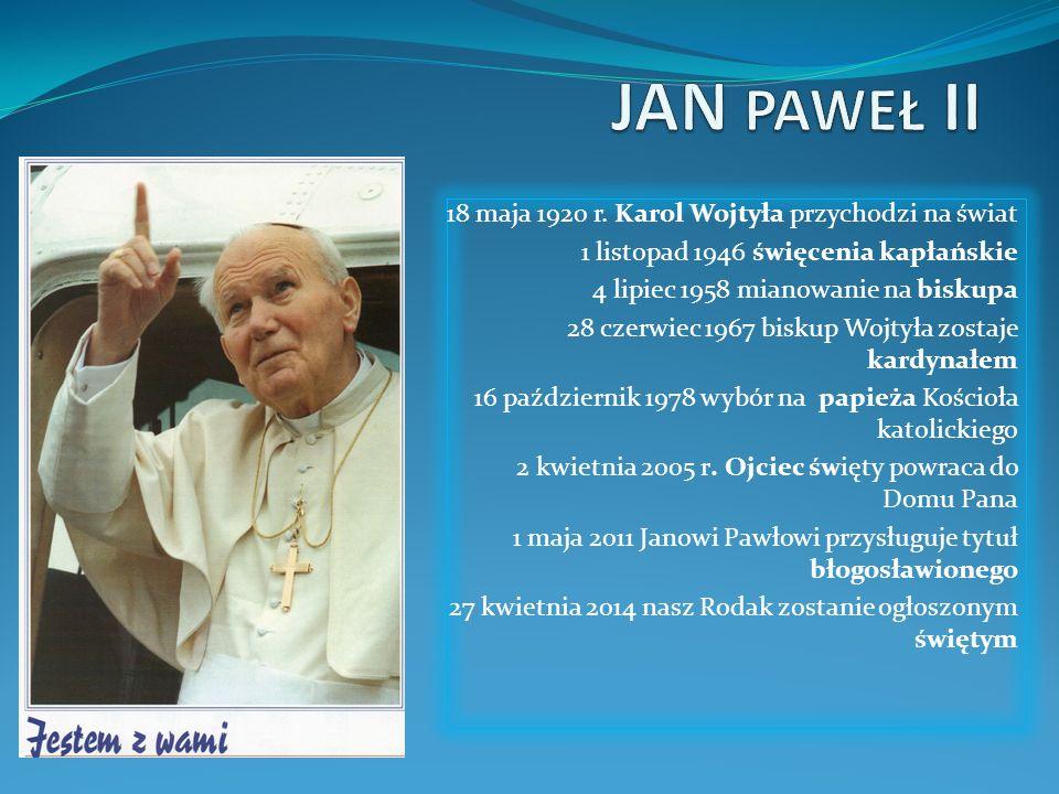 JAN PAWEŁ II 18 maja 1920 r. Karol Wojtyła przychodzi na świat
