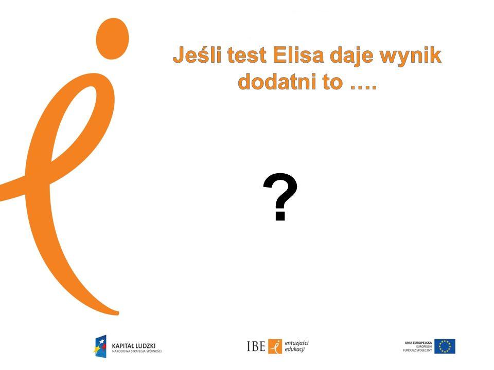 Jeśli test Elisa daje wynik dodatni to ….
