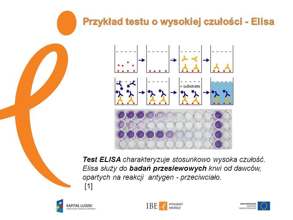 Przykład testu o wysokiej czułości - Elisa