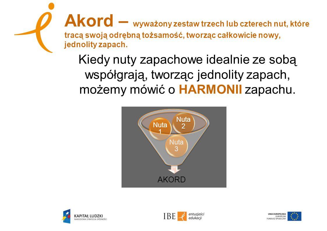 Akord – wyważony zestaw trzech lub czterech nut, które tracą swoją odrębną tożsamość, tworząc całkowicie nowy, jednolity zapach.
