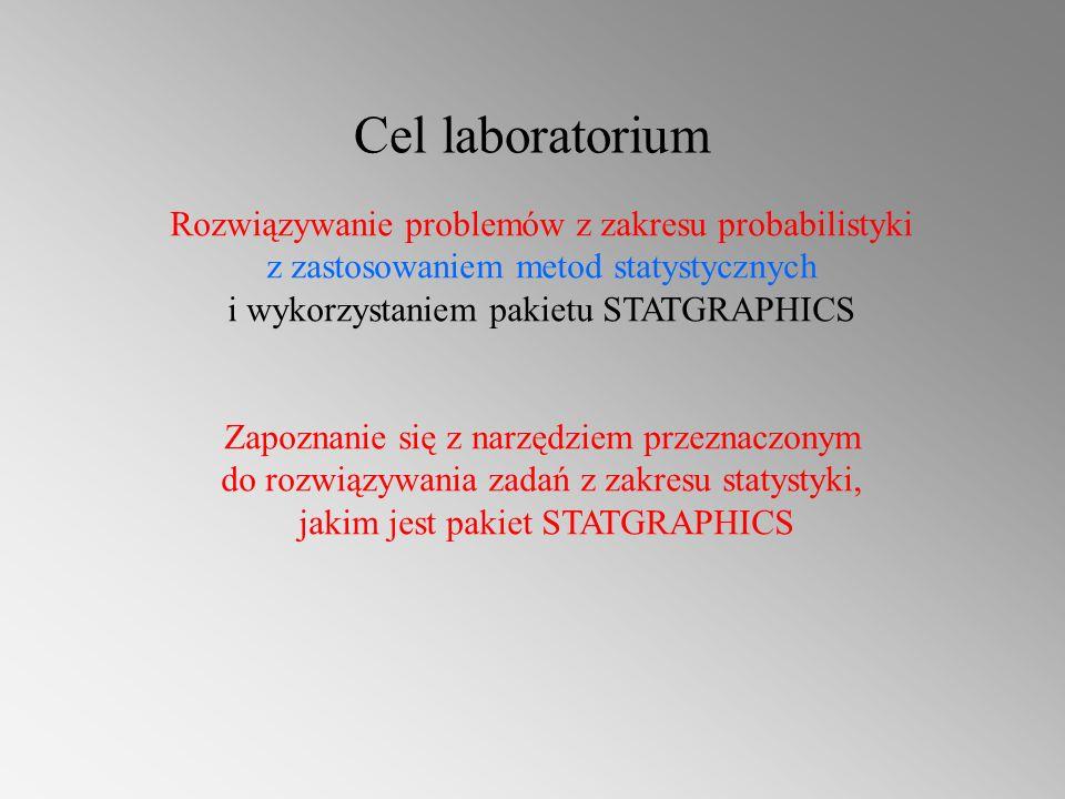 Cel laboratorium Rozwiązywanie problemów z zakresu probabilistyki z zastosowaniem metod statystycznych i wykorzystaniem pakietu STATGRAPHICS.