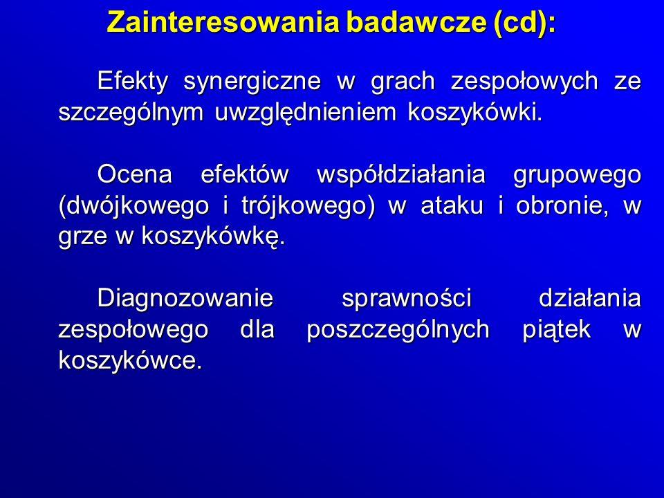 Zainteresowania badawcze (cd):