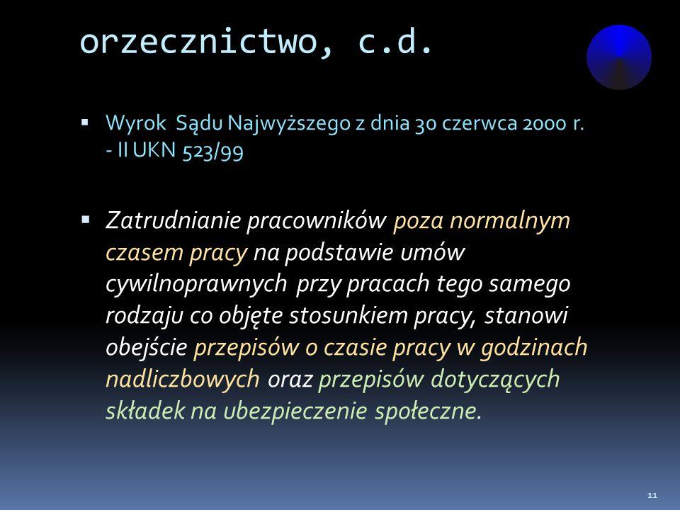 orzecznictwo, c.d. Wyrok Sądu Najwyższego z dnia 30 czerwca 2000 r. - II UKN 523/99.