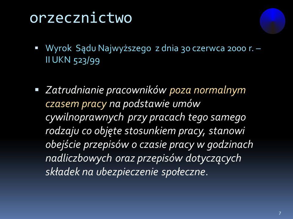 orzecznictwo Wyrok Sądu Najwyższego z dnia 30 czerwca 2000 r. – II UKN 523/99.