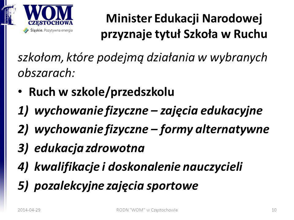 Minister Edukacji Narodowej przyznaje tytuł Szkoła w Ruchu