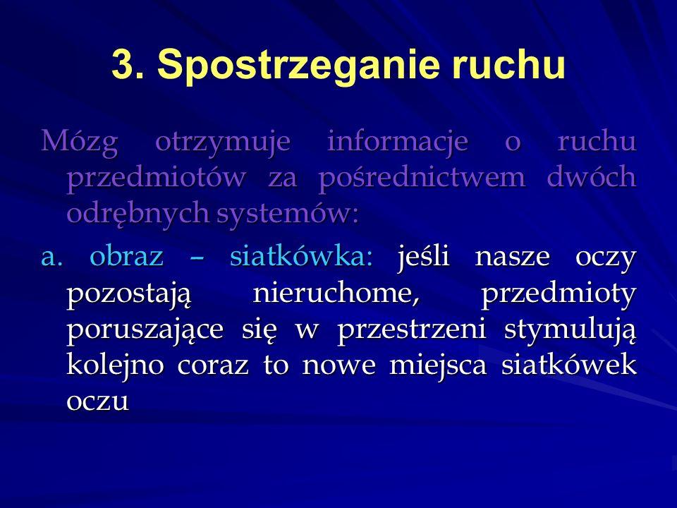 3. Spostrzeganie ruchu Mózg otrzymuje informacje o ruchu przedmiotów za pośrednictwem dwóch odrębnych systemów: