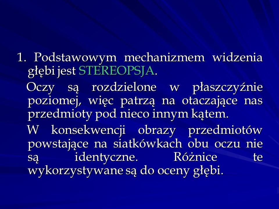 1. Podstawowym mechanizmem widzenia głębi jest STEREOPSJA.