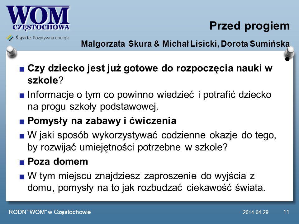 Przed progiem Małgorzata Skura & Michał Lisicki, Dorota Sumińska •