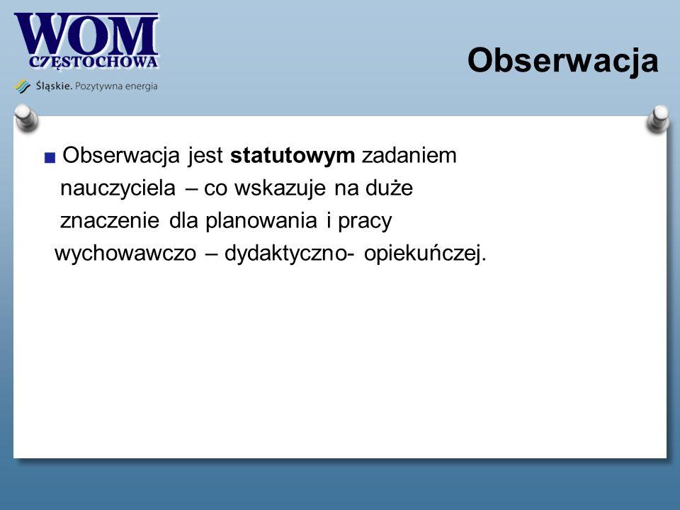 Obserwacja Obserwacja jest statutowym zadaniem