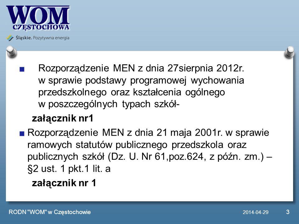 Rozporządzenie MEN z dnia 27sierpnia 2012r