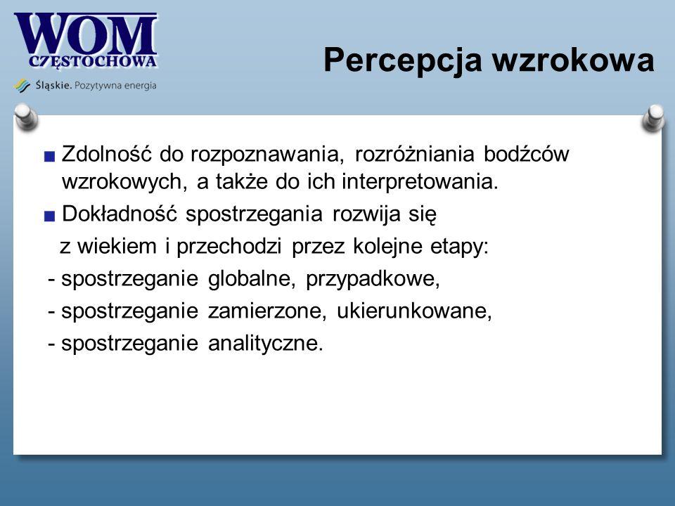 Percepcja wzrokowa Zdolność do rozpoznawania, rozróżniania bodźców wzrokowych, a także do ich interpretowania.