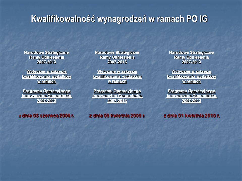 Kwalifikowalność wynagrodzeń w ramach PO IG