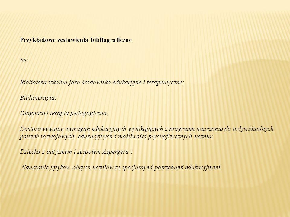 Przykładowe zestawienia bibliograficzne